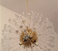 Chandelier Repair: Re-plated in Polished brass + new stem added.