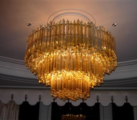 Gigantic Venini Chandelier installed over Dinning room Table in NYC.