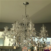 Chandelier Cleaning: Chandelier with crystals cleaned on Apt. in NYC.