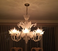 Chandelier Cleaning: White glass chandelier cleaned. Glen Cove, Long Island.