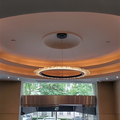 We installed this Petra Sole chandelier on a Lobby of a building in East end avenue New York, NY.