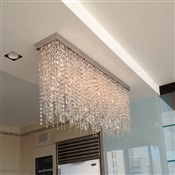 4' Fixture with hanging crystals installed over kitchen counter in upper east side, NYC.