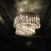 Clear Venini chandelier installed on hallway. Uptown New York, NY.