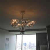 Glass chandelier installed flush on low ceiling Apt. Central Park West, New York, NY.